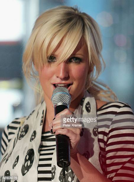 Singer Ashlee Simpson appears on stage during the 4th Annual TRL Awards at the MTV Times Square Studios February 21 2006 in New York City
