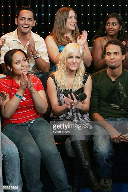 Singer Ashlee Simpson appears onstage during MTV's Total Request Live at the MTV Times Square Studios September 13 2005 in New York City