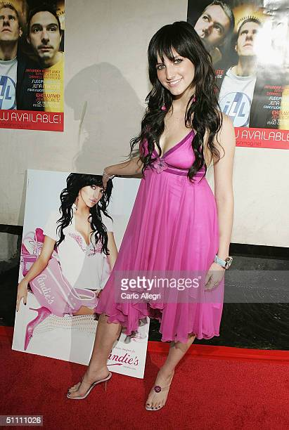 Singer Ashlee Simpson arrives for the Mean magazine relaunch and album release party on July 24 2004 at Concorde in Los Angeles California