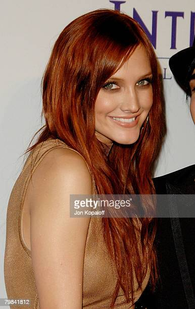 Singer Ashlee Simpson arrives to the Clive Davis PreGrammy Party at the Beverly Hilton Hotel on February 9 2008 in Beverly Hills California