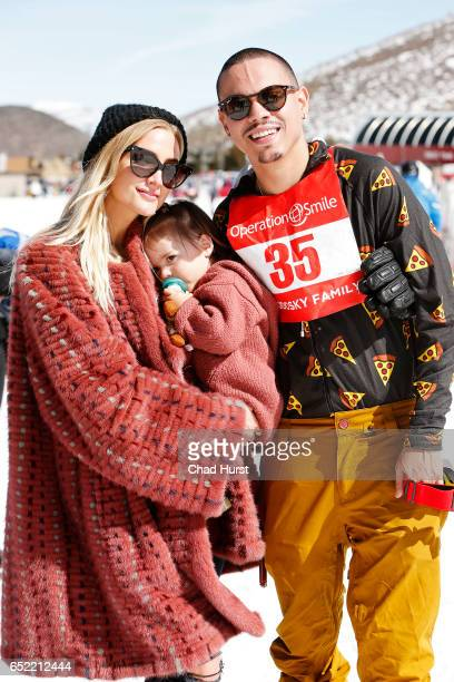 Singer Ashlee Simpson daughter Jagger Snow Ross and husband Evan Ross attend Operation Smile's Celebrity Ski Smile Challenge Presented by the Rodosky...