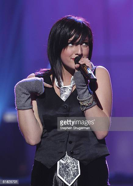 Singer Ashlee Simpson performs at the taping of the 6th Annual A Home for the Holidays on December 4 2004 at Ren Mar Studios in Los Angeles...