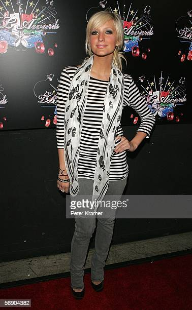 Singer Ashlee Simpson poses backstage during the 4th Annual TRL Awards at the MTV Times Square Studios February 21 2006 in New York City
