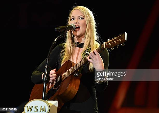 Singer Ashley Campbell performs during The Grand Ole Opry at CRS 2016 at the Omni Hotel on February 8 2016 in Nashville Tennessee