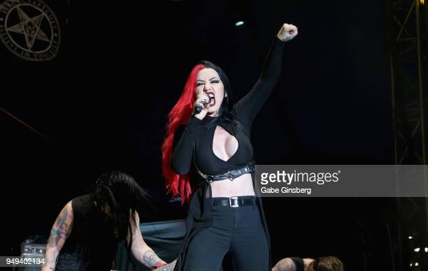Singer Ashley Costello of New Years Day performs during the Las Rageous music festival at the Downtown Las Vegas Events Center on April 20 2018 in...