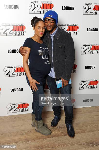 Singer Ashley Walters and his wife Danielle Isaie attend the special celebrity screening of 22 Jump Street taking place at the new Firmdale Hotel Ham...