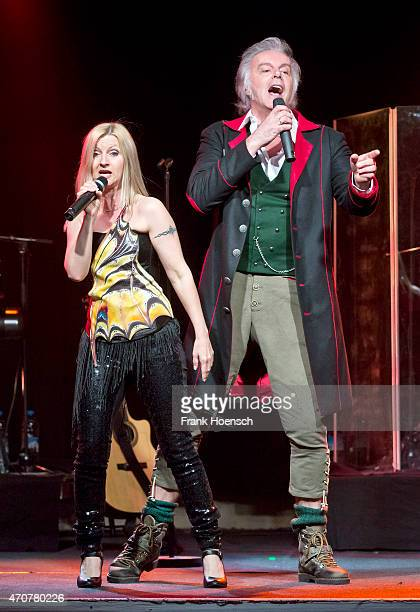Singer Astrid Wirtenberger and Alfred Fred Jaklitsch of the Austrian band Die Seer perform live during a concert at the Postbahnhof on April 21 2015...