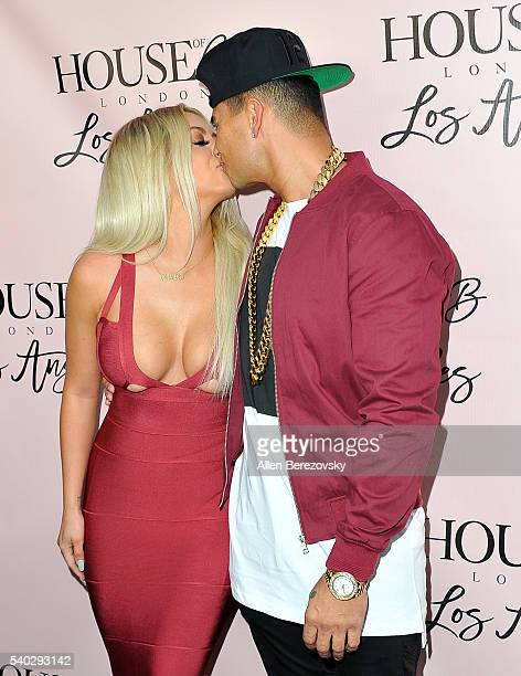 Singer Aubrey O'Day and DJ Pauly D attend the House of CB Flagship Store Launch party at the House of CB on June 14, 2016 in West Hollywood,...