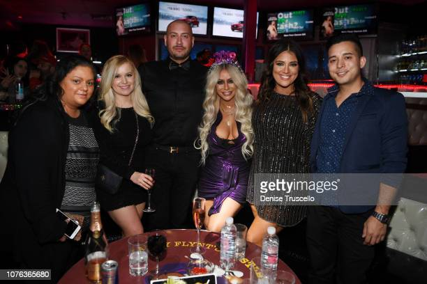 Singer Aubrey O'Day and guests celebrates New Year's Eve at Hustler Club Las Vegas on January 1 2018 in Las Vegas Nevada