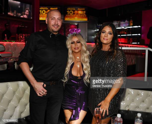 Singer Aubrey O'Day and guests celebrates New Year's Eve at Hustler Club Las Vegas on January 1, 2018 in Las Vegas, Nevada.
