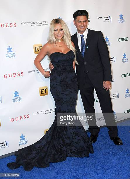 Singer Aubrey O'Day and TV personality/DJ Pauly D aka Paul DelVecchio attends Metropolitan Fashion Week 2016 La Vie En Bleu Signature event...