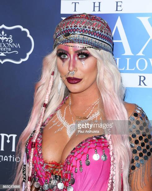 Singer Aubrey O'Day attends the 2017 Maxim Halloween party at Los Angeles Center Studios on October 21, 2017 in Los Angeles, California.