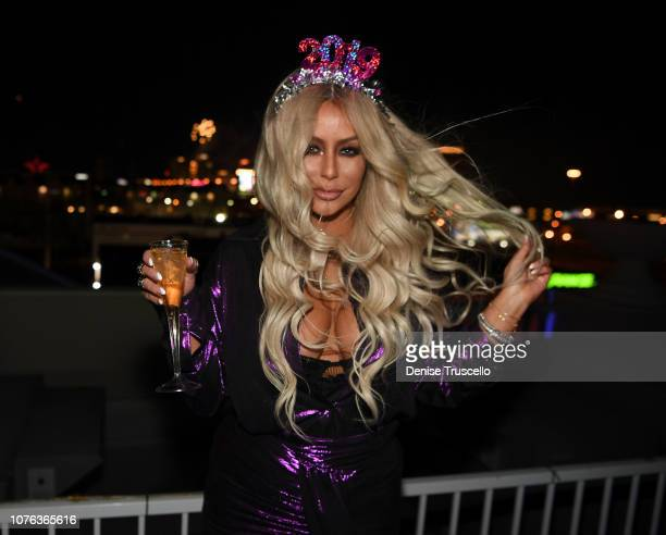 Singer Aubrey O'Day hosts New Years Eve at Hustler Club Las Vegas on January 1, 2018 in Las Vegas, Nevada.