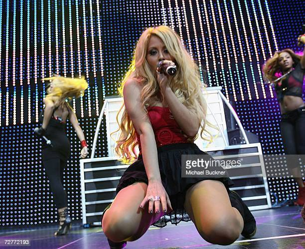 Singer Aubrey O'Day of Danity Kane performs at KIIS FM's Jingle Ball 2006 at the Honda Center on December 7 2006 in Anaheim California