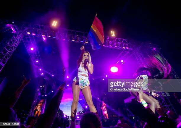 Singer Aubrey O'Day of Danity Kane performs during the 2014 LA Gay Pride Festival on June 8, 2014 in West Hollywood, California.