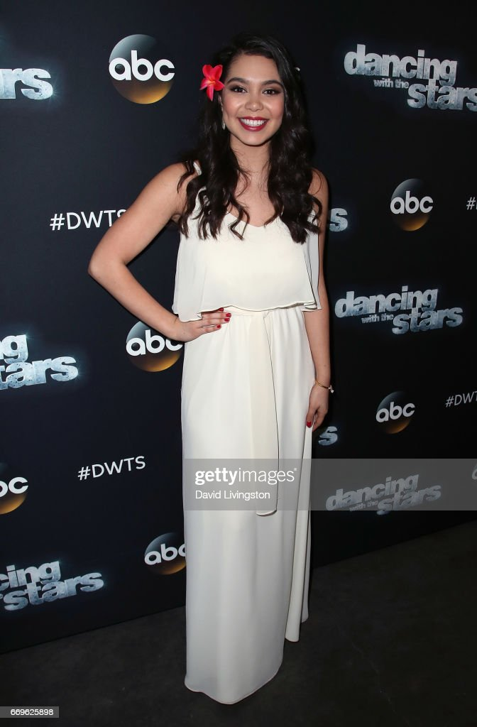 Singer Auli'i Cravalho attends 'Dancing with the Stars' Season 24 at CBS Televison City on April 17, 2017 in Los Angeles, California.