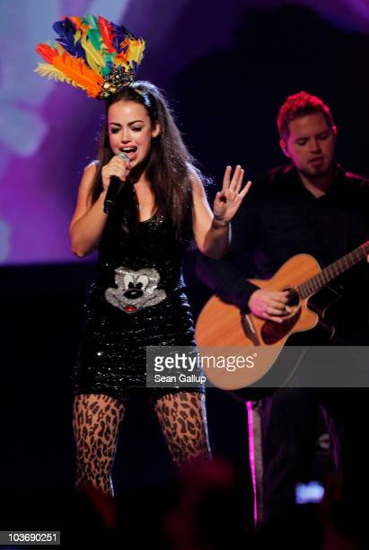 Singer Aura Dione performs at The Dome 55 on August 27 2010 in Hannover Germany