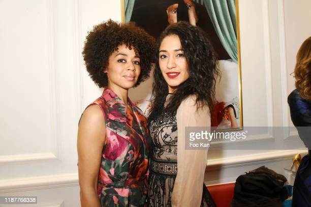 Singer Aurelie Konate and actress Josephine Jobert attend Charles Jourdan X Christophe Guillarme Xmas Pop Up Store Madeleine on November 14 2019 in...
