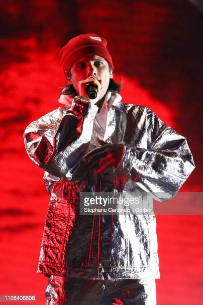 Singer Aurelien Cotentin aka Orelsan performs during the 34th 'Les Victoires De La Musique' Show at La Seine Musicale on February 08 2019 in...