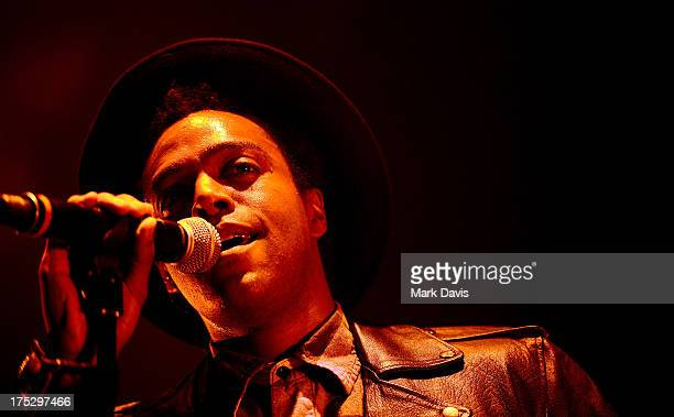 Singer Austin Brown performs osntage during Bud Light Music First 50/50/1 featuring Miguel at Hollywood Palladium on August 1 2013 in Hollywood...