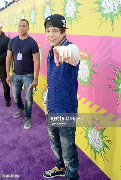 Singer Austin Mahone arrives at Nickelodeon's 26th Annual Kids' Choice Awards at USC Galen Center on March 23 2013 in Los Angeles California
