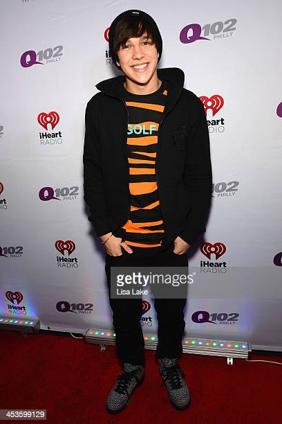 Singer Austin Mahone attends Q102's Jingle Ball 2013 presented by Bernie Robbins Jewelers at Wells Fargo Center on December 4 2013 in Philadelphia PA