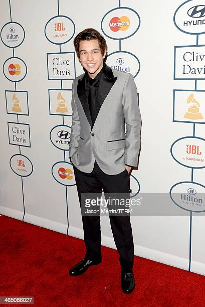 Singer Austin Mahone attends the 56th annual GRAMMY Awards PreGRAMMY Gala and Salute to Industry Icons honoring Lucian Grainge at The Beverly Hilton...