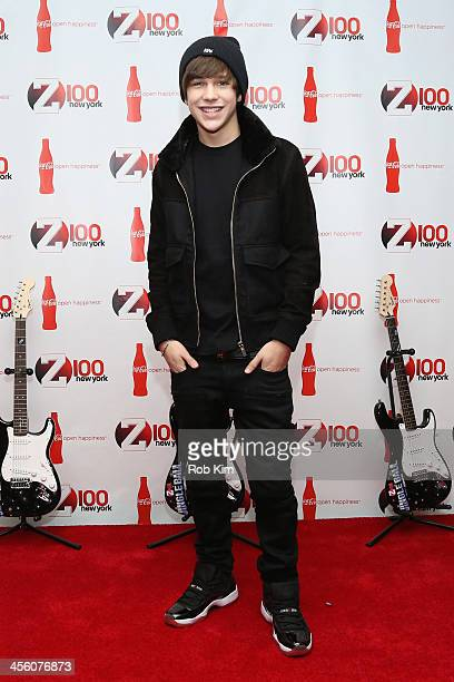 Singer Austin Mahone attends Z100 CocaCola All Access Lounge at Z100's Jingle Ball 2013 preshow at Hammerstein Ballroom on December 13 2013 in New...