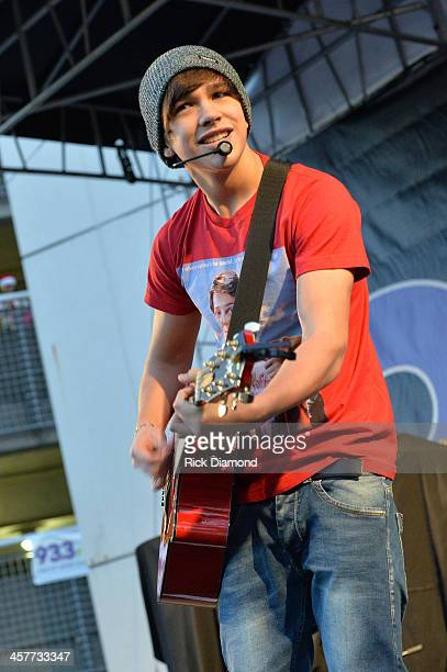 "Singer Austin Mahone performs at 933 FLZ's Jingle Ball ""PreShow Free Show"" on the Plaza 933 FLZ's Jingle Ball 2013 official preshow at the Tampa Bay..."