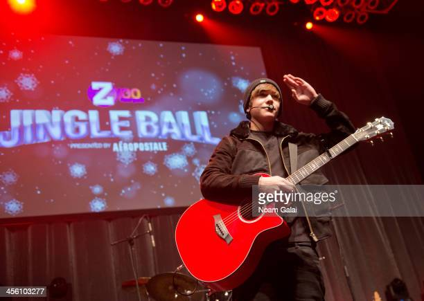Singer Austin Mahone performs at the Z100 & Coca-Cola All Access Lounge at Z100?s Jingle Ball 2013 pre-show at Hammerstein Ballroom on December 13,...