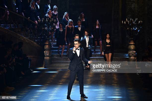 Singer Austin Mahone performs during the show for fashion house Dolce Gabbana during the Men's FallWinter 20172018 fashion week on January 14 2017 in...