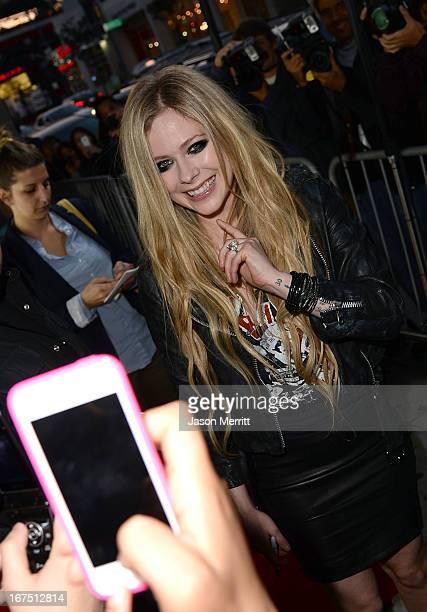 Singer Avril Lavigne arrives for her secret performance at The Viper Room on April 25 2013 in West Hollywood California