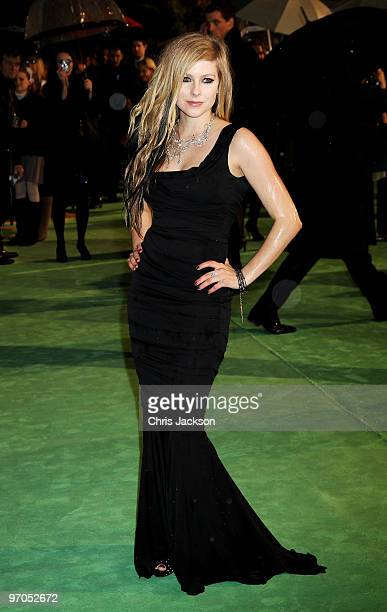 Singer Avril Lavigne attends the Royal World Premiere of Alice in Wonderland at the Odeon Leicester Square on February 25 2010 in London England
