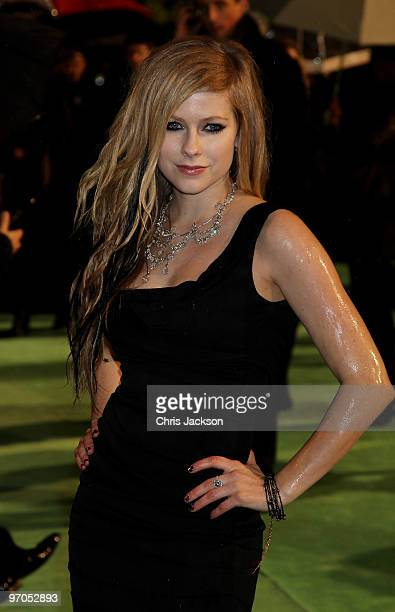 Singer Avril Lavigne attends the Royal World Premiere of 'Alice in Wonderland' at the Odeon Leicester Square on February 25 2010 in London England