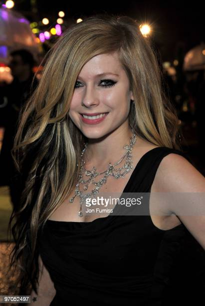 Singer Avril Lavigne attends the Royal World Premiere of Tim Burton's 'Alice In Wonderland' at the Odeon Leicester Square on February 25 2010 in...