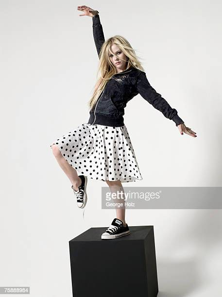Singer Avril Lavigne is photographed for Seventeen Magazine on on January 16 2007 at the MiauHauss Studios in Los Angeles California