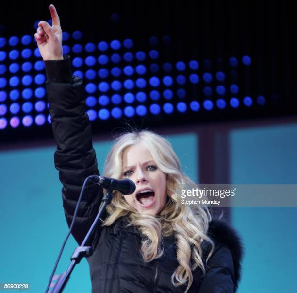 Singer Avril Lavigne performs in concert after the Medal Ceremony at the Medals Plaza on Day 11 of the Turin 2006 Winter Olympic Games February21...