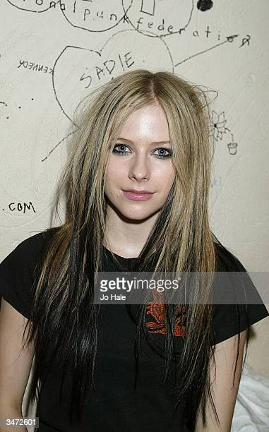 Singer Avril Lavigne performs on stage during her secret fan club gig at the Camden Monarch on April 27 2004 in London The 19yearold Canadian star...