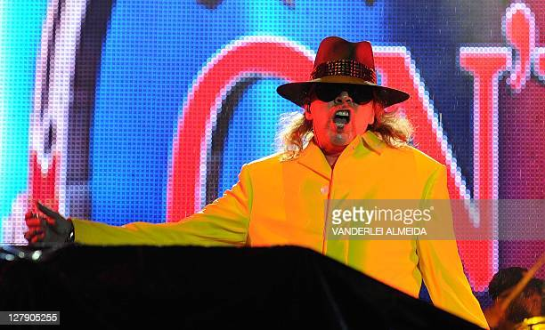 US singer Axel Rose performs with his band Guns N'Roses during the last day of the Rock in Rio music festival at the City of Rock in Rio de Janiero...