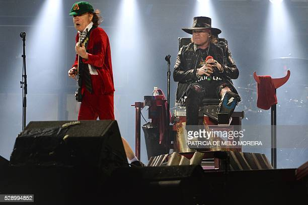 Singer Axl Rose and Angus Young of Australian Rock band AC/DC perform in Lisbon on May 7, 2016. Aussie rockers AC/DC wrote a new chapter in their...