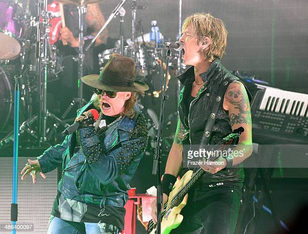 Singer Axl Rose and bassist Duff McKagan perform onstage at the 6th Annual Revolver Golden Gods Award Show at Club Nokia on April 23 2014 in Los...
