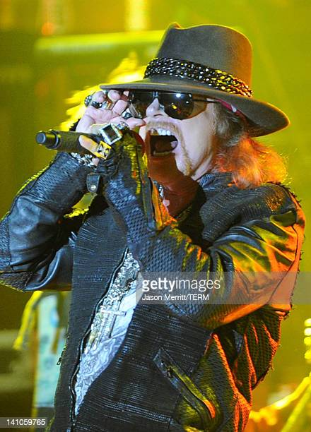 Singer Axl Rose of Guns N' Roses performs at the Hollywood Palladium on March 9 2012 in Hollywood California