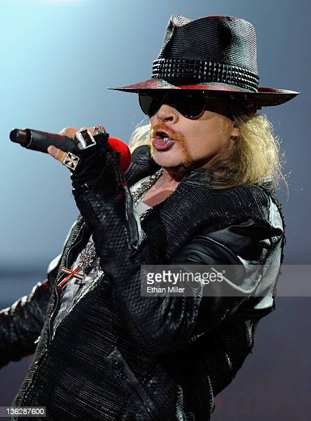 Singer Axl Rose of Guns N' Roses performs at The Joint inside the Hard Rock Hotel Casino December 30 2011 in Las Vegas Nevada