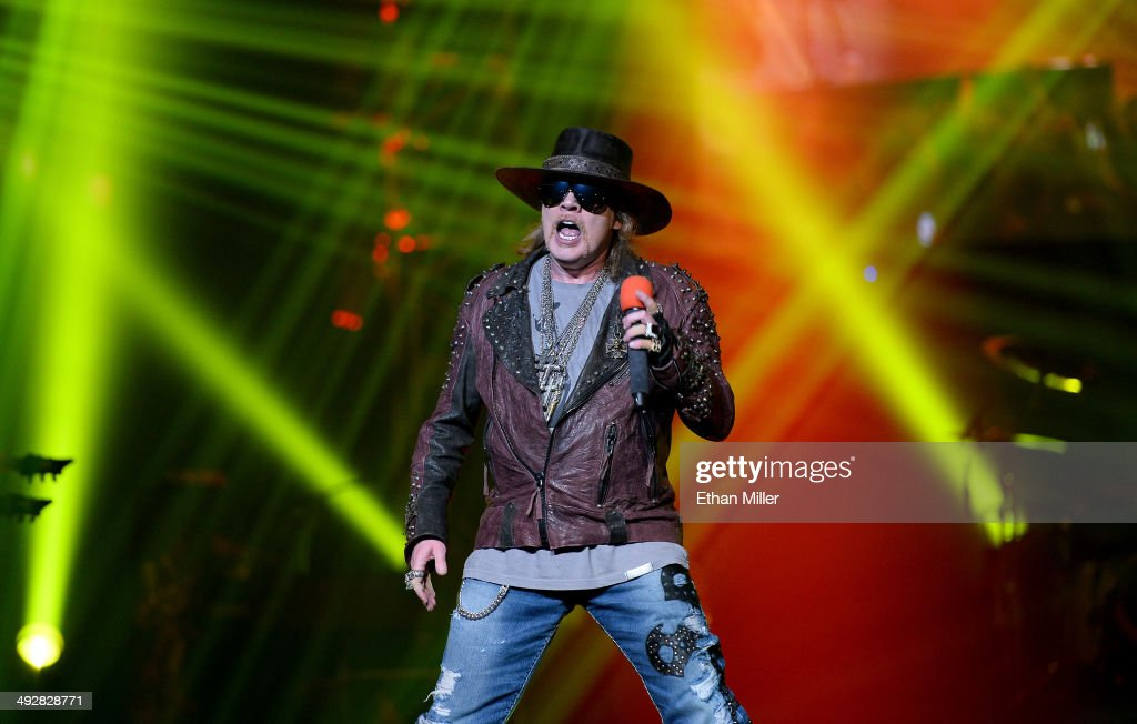Singer Axl Rose of Guns N' Roses performs at The Joint inside the Hard Rock Hotel & Casino during the opening night of the band's second residency, 'Guns N' Roses - An Evening of Destruction. No Trickery!' on May 21, 2014 in Las Vegas, Nevada.