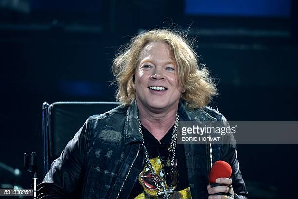 US singer Axl Rose performs with Australian band AC/DC in Marseille on May 13 2016 / AFP / BORIS HORVAT
