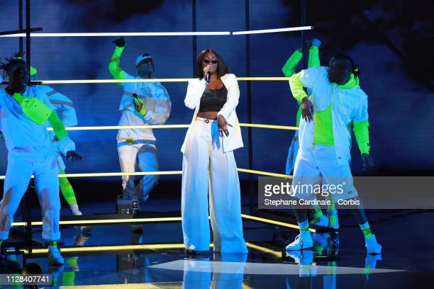 Singer Aya Nakamura performs during the 34th 'Les Victoires De La Musique' Show at La Seine Musicale on February 08 2019 in BoulogneBillancourt France