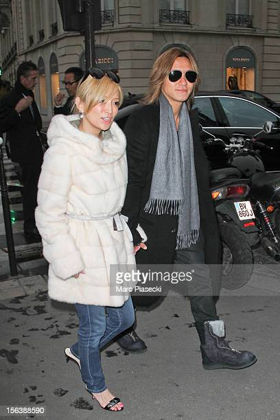 Singer Ayumi Hamasaki and boyfriend Maro are seen arriving at the 'L'Avenue' restaurant on November 14 2012 in Paris France