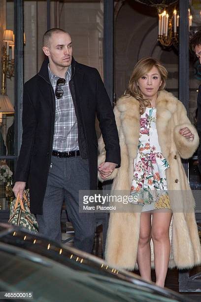 Singer Ayumi Hamasaki and her boyfriend leave the 'ShangriLa' hotel on January 27 2014 in Paris France