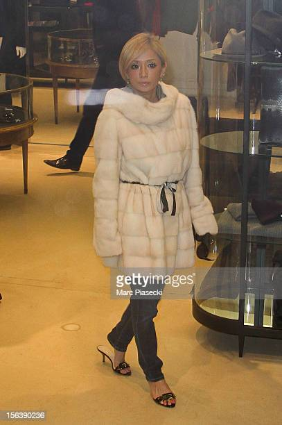 Singer Ayumi Hamasaki is seen at the 'Lanvin' store in 'Rue du Faubourg Saint Honore' on November 14 2012 in Paris France