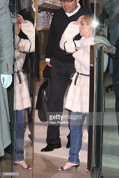 Singer Ayumi Hamasaki is seen leaving the 'Corneliani' store in 'Rue du Faubourg Saint Honore' on November 14 2012 in Paris France